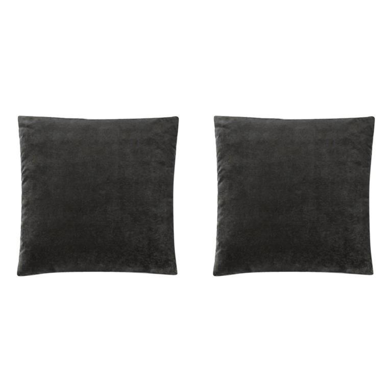 Molteni&C Square Decorative Cushion Pair Velvet Dark Grey For Sale