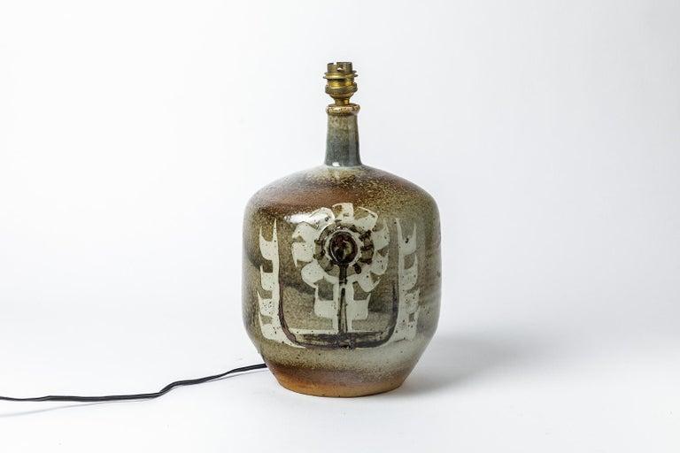 Mid-Century Modern Decorative Stoneware Ceramic Lamp Designed by Pierre Digan in La Borne For Sale