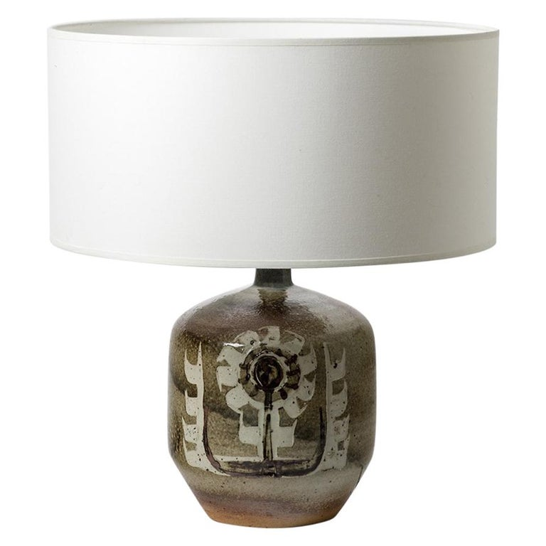 Decorative Stoneware Ceramic Lamp Designed by Pierre Digan in La Borne For Sale
