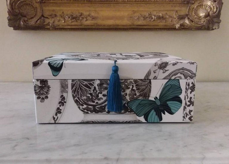 Decorative Storage Box for Scarves Manuel Canovas Fabric Handmade in France In New Condition For Sale In ., FR