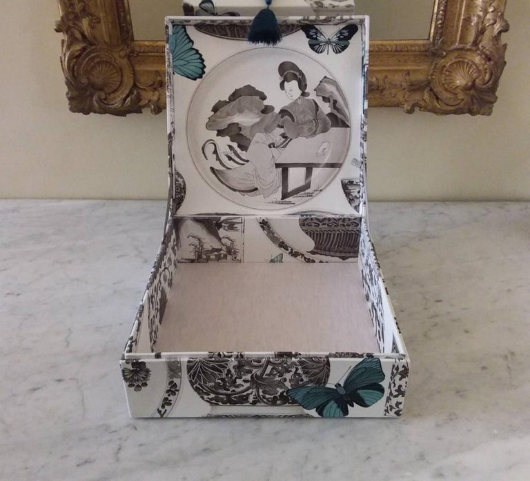 Women's or Men's Decorative Storage Box for Scarves Manuel Canovas Fabric Handmade in France For Sale