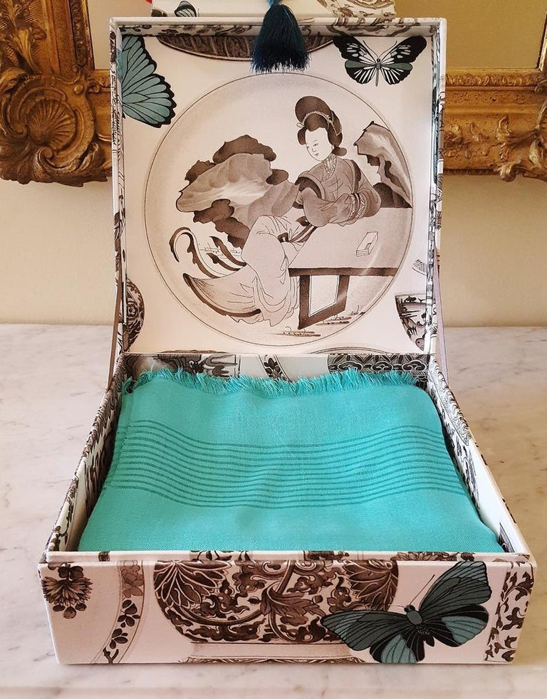 Decorative Storage Box for Scarves Manuel Canovas Fabric Handmade in France For Sale 3