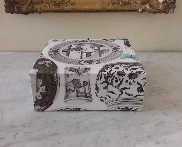 Decorative Storage Box for Scarves Manuel Canovas Fabric Handmade in France For Sale 4