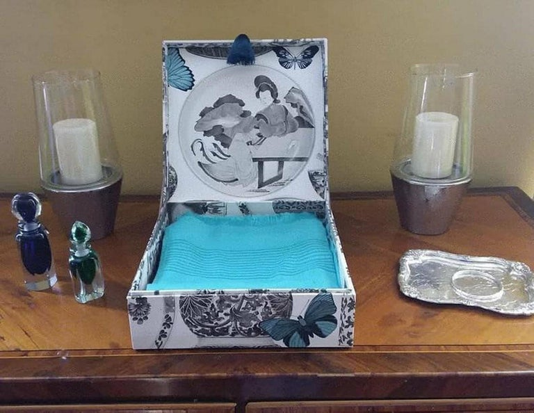 Decorative Storage Box for Scarves Manuel Canovas Fabric Handmade in France For Sale 5