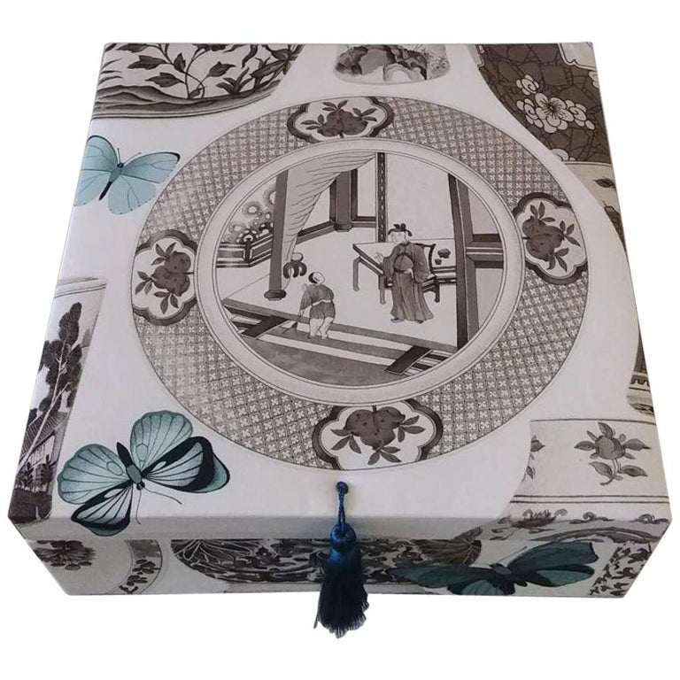 Decorative Storage Box for Scarves Manuel Canovas Fabric Handmade in France For Sale