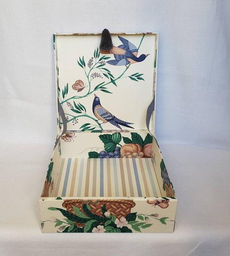 Women's or Men's Decorative Storage Box for Scarves Schumacher Fabric Handmade in France For Sale