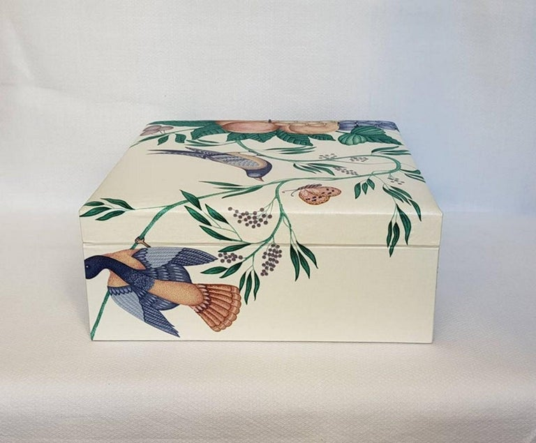 Decorative Storage Box for Scarves Schumacher Fabric Handmade in France For Sale 3