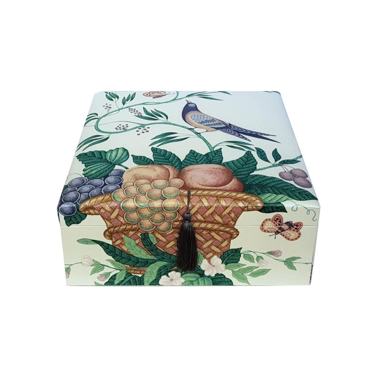 Decorative Storage Box for Scarves Schumacher Fabric Handmade in France For Sale