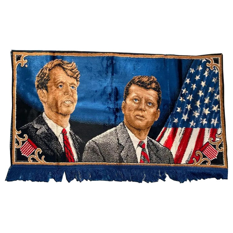Decorative Tapestry for Wall Robert and John F.Kennedy Late 1960s or Early 1970s For Sale