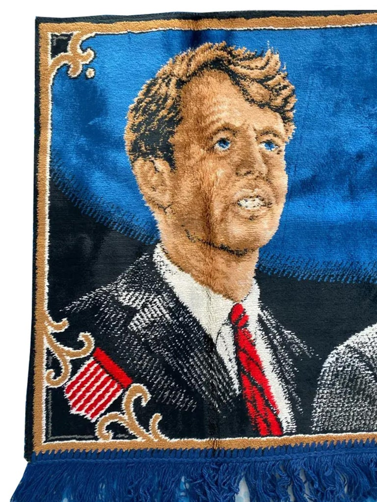 Mid-Century Modern Decorative Tapestry for Wall Robert and John F.Kennedy Late 1960s or Early 1970s For Sale