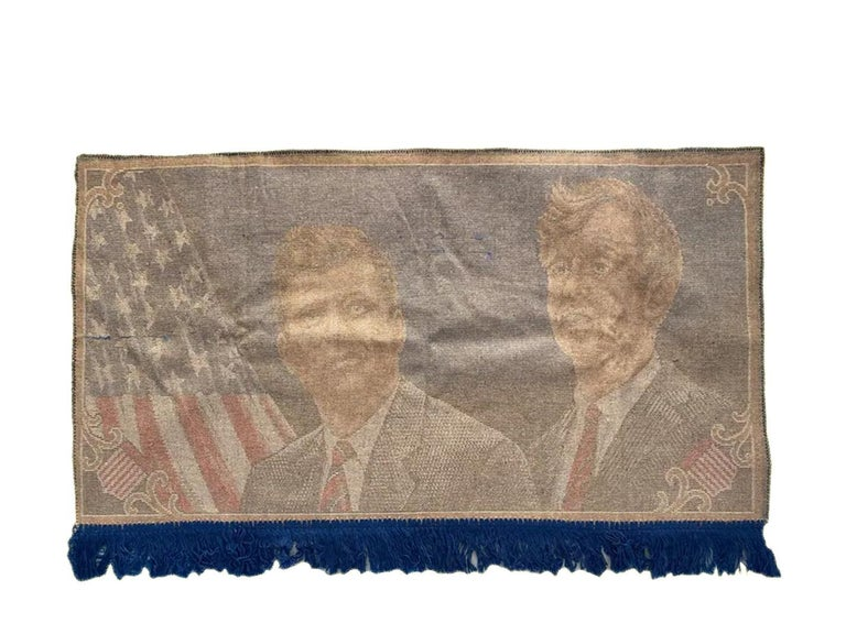 Unknown Decorative Tapestry for Wall Robert and John F.Kennedy Late 1960s or Early 1970s For Sale