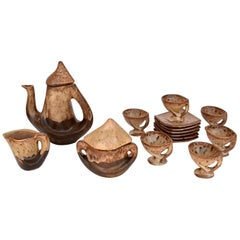Decorative Tea Set for Six Servings, Vallauris France, 1970s