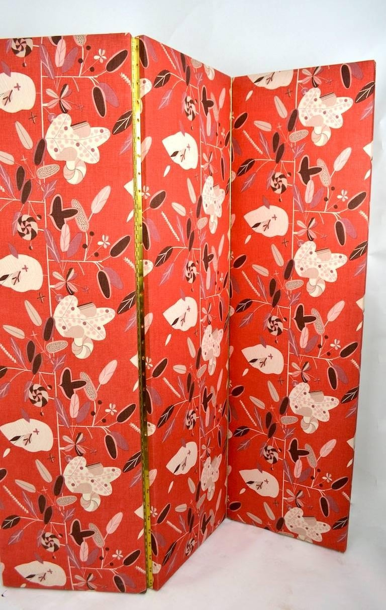 Post-Modern Decorative Three Panel Folding Room Divider, Dressing Screen For Sale