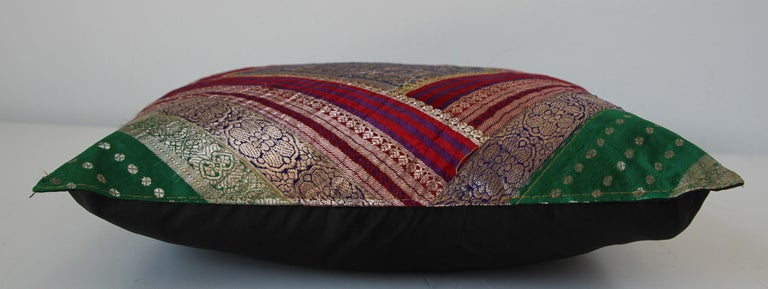 Decorative Throw Pillow Made from Vintage Sari Borders, India For Sale 3