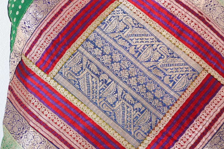 Moorish Decorative Throw Pillow Made from Vintage Sari Borders, India For Sale