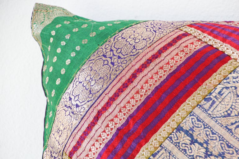 Indian Decorative Throw Pillow Made from Vintage Sari Borders, India For Sale