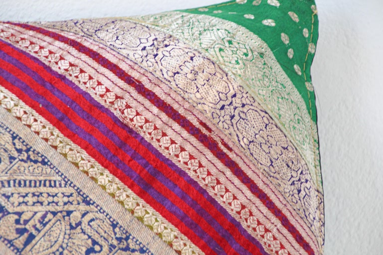 Beaded Decorative Throw Pillow Made from Vintage Sari Borders, India For Sale
