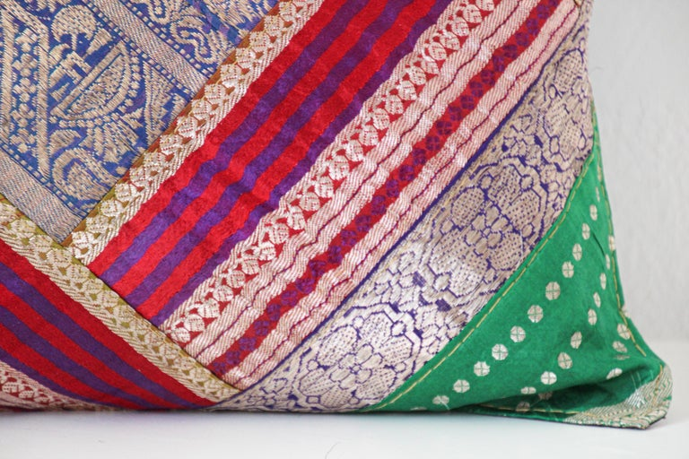 Decorative Throw Pillow Made from Vintage Sari Borders, India In Good Condition For Sale In North Hollywood, CA