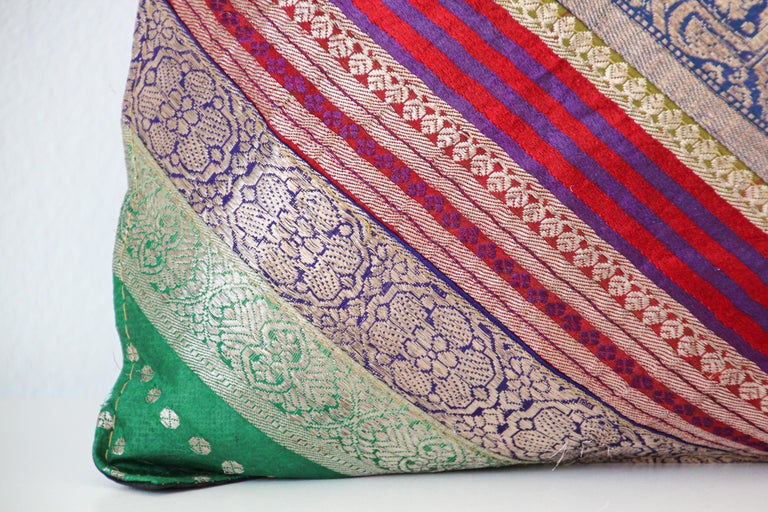 20th Century Decorative Throw Pillow Made from Vintage Sari Borders, India For Sale
