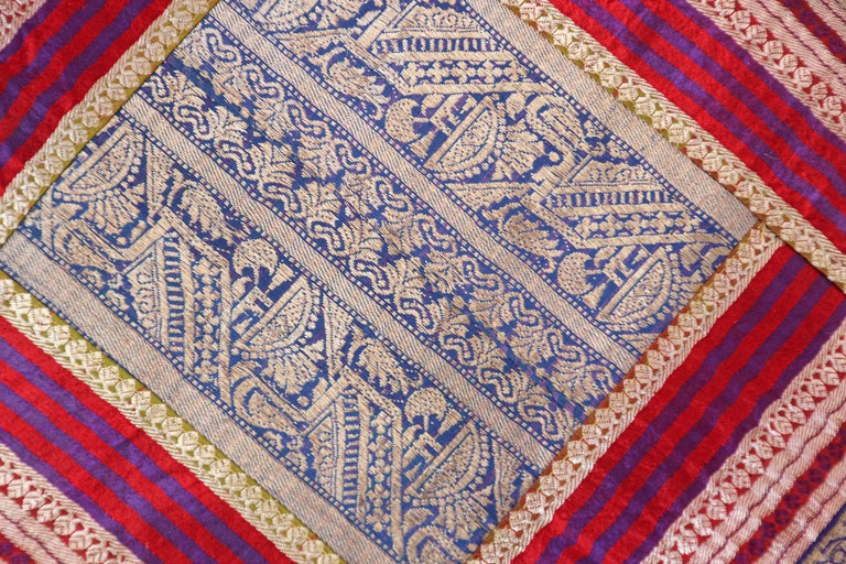 Fabric Decorative Throw Pillow Made from Vintage Sari Borders, India For Sale