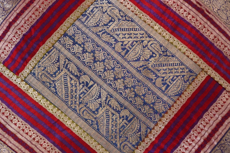 Decorative Throw Pillow Made from Vintage Sari Borders, India For Sale 1