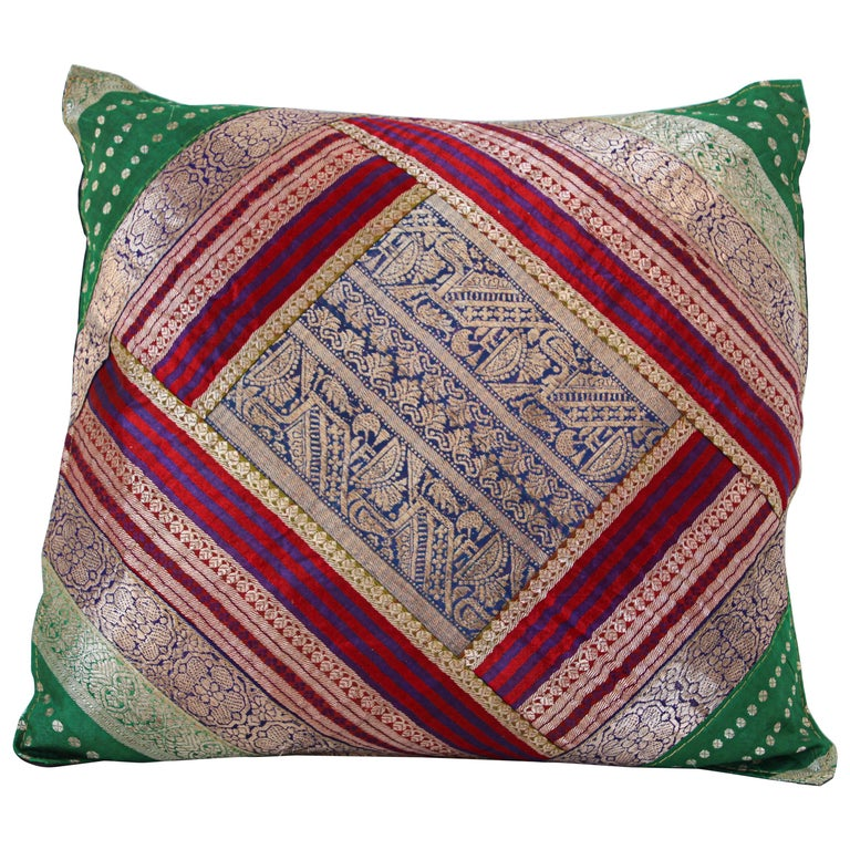 Decorative Throw Pillow Made from Vintage Sari Borders, India For Sale