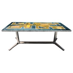 Decorative Tiled and Chrome Base Coffee Table, 1960s