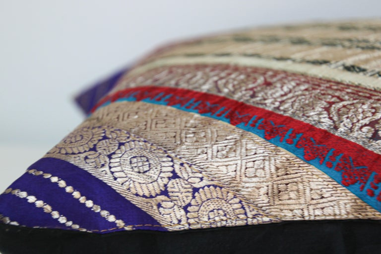 Decorative Trow Pillow Made from Vintage Sari Borders, India For Sale 2