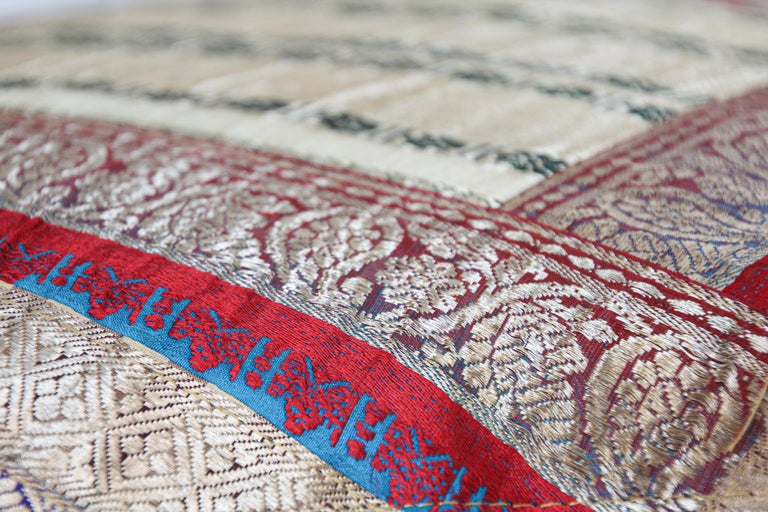 Decorative Trow Pillow Made from Vintage Sari Borders, India For Sale 3