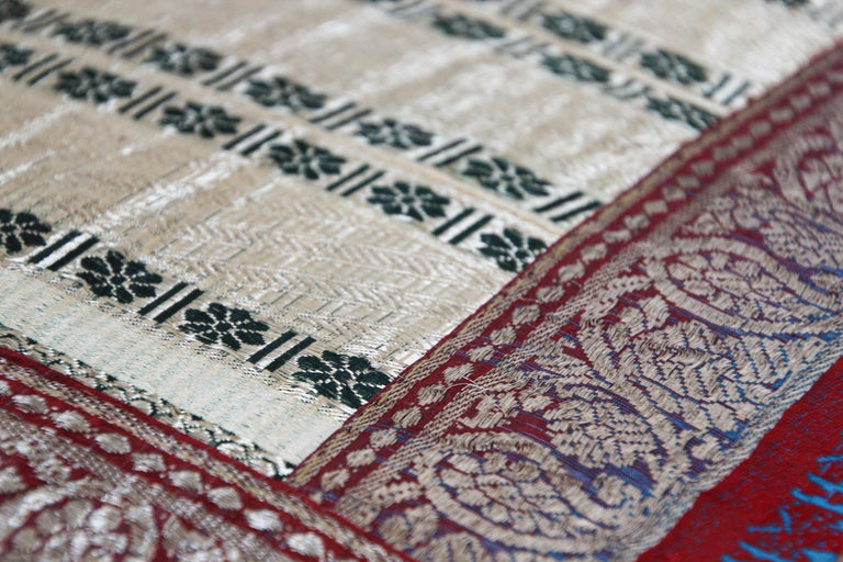 Decorative Trow Pillow Made from Vintage Sari Borders, India For Sale 4