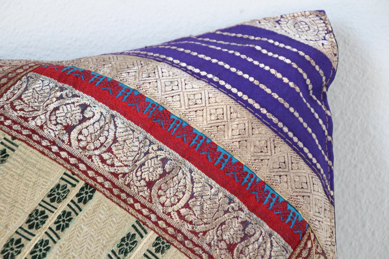 Moorish Decorative Trow Pillow Made from Vintage Sari Borders, India For Sale