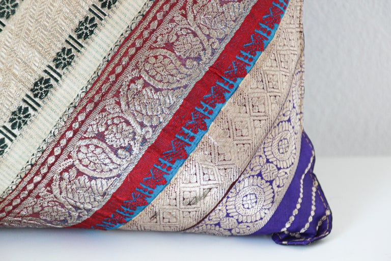 Indian Decorative Trow Pillow Made from Vintage Sari Borders, India For Sale