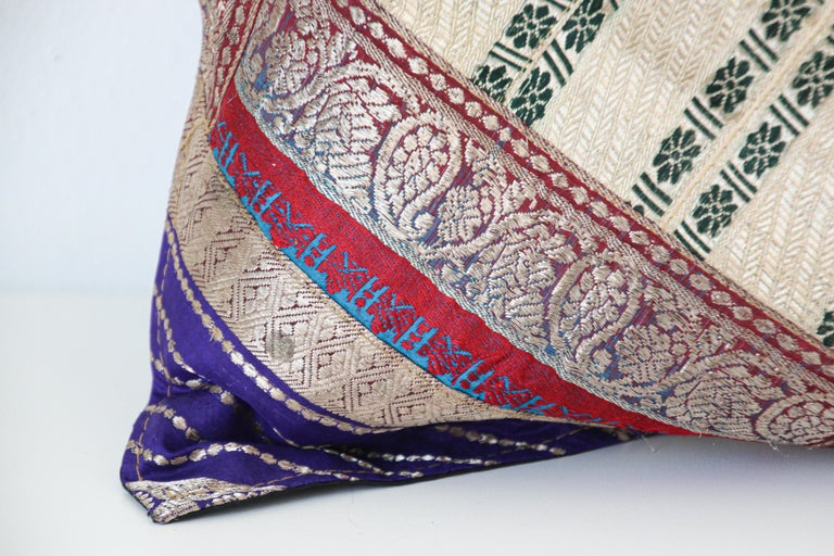 Hand-Crafted Decorative Trow Pillow Made from Vintage Sari Borders, India For Sale