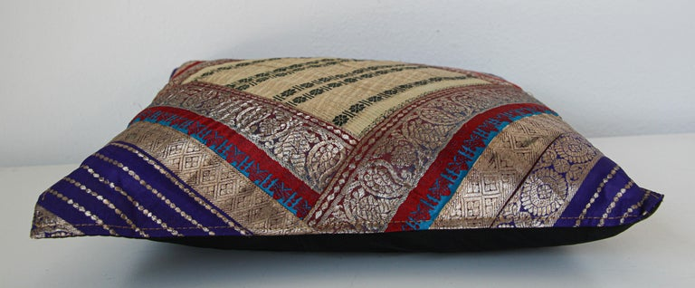 20th Century Decorative Trow Pillow Made from Vintage Sari Borders, India For Sale