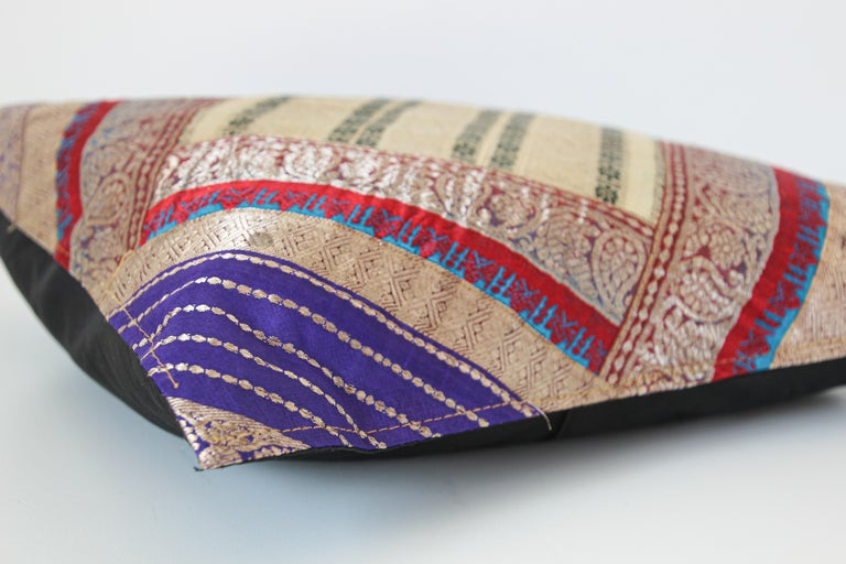 Fabric Decorative Trow Pillow Made from Vintage Sari Borders, India For Sale