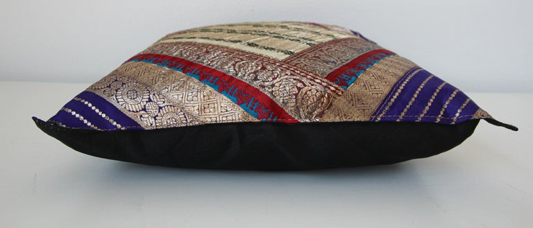 Decorative Trow Pillow Made from Vintage Sari Borders, India For Sale 1