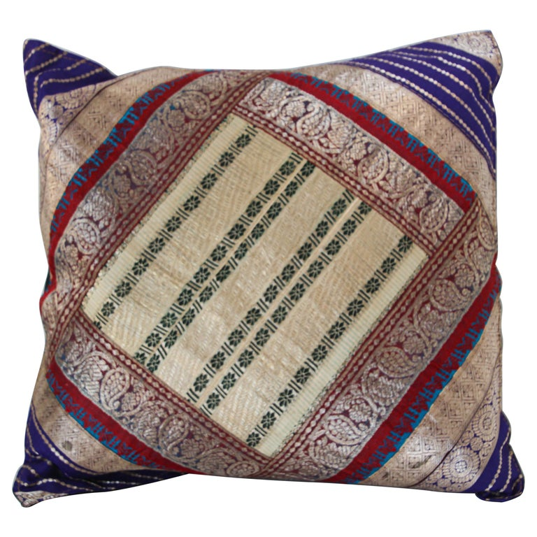 Decorative Trow Pillow Made from Vintage Sari Borders, India For Sale