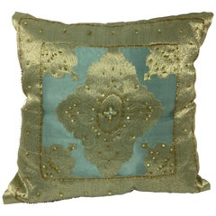 Decorative Turquoise Pillow Embellished with Sequins and Beads