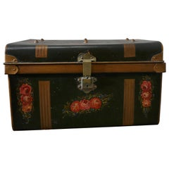 Decorative Victorian Painted Tin Travel Trunk