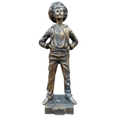Decorative Victorian Style Bronze Sculpture of Young Boy, 20th Century
