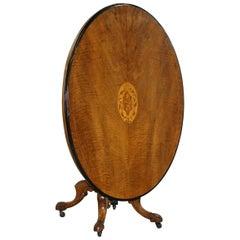 Decorative Victorian Walnut Marquetry Inlaid Loo Tilt-Top Breakfast Table