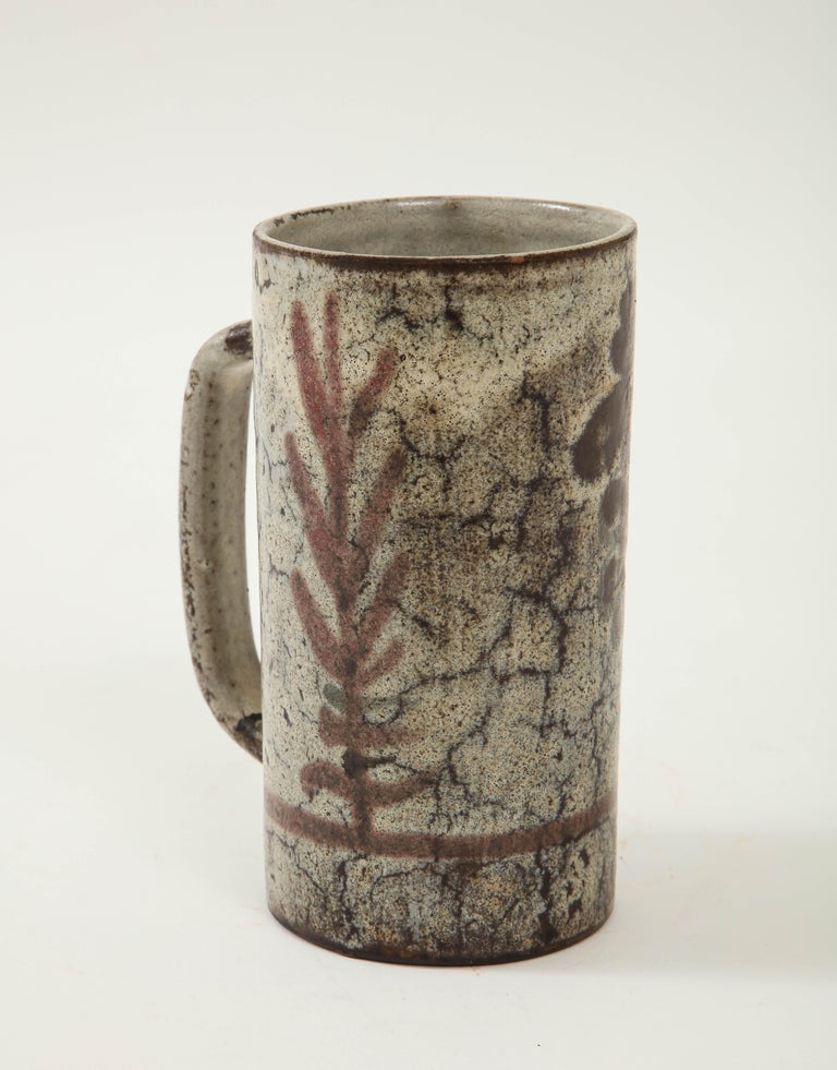 Mid-Century Modern Decorative Vintage Ceramic Jug by Gustave Raynaud, circa 1960 For Sale