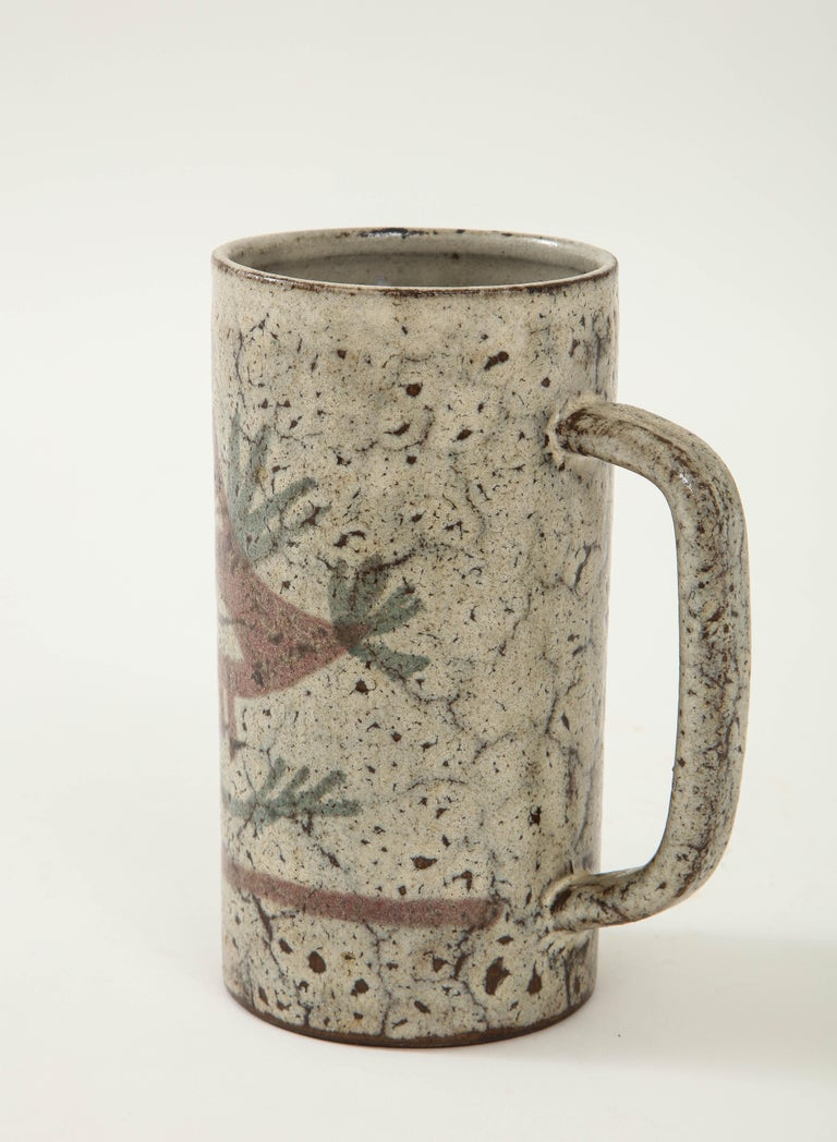 20th Century Decorative Vintage Ceramic Jug by Gustave Raynaud, circa 1960 For Sale
