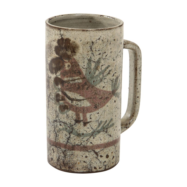 Decorative Vintage Ceramic Jug by Gustave Raynaud, circa 1960 For Sale