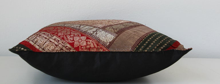 Decorative Vintage Throw Pillow Made from Sari Borders, India For Sale 4