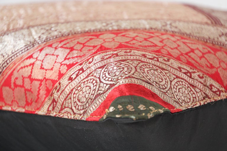 Decorative Vintage Throw Pillow Made from Sari Borders, India For Sale 6
