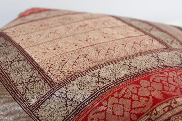 Decorative Vintage Throw Pillow Made from Sari Borders, India For Sale 7