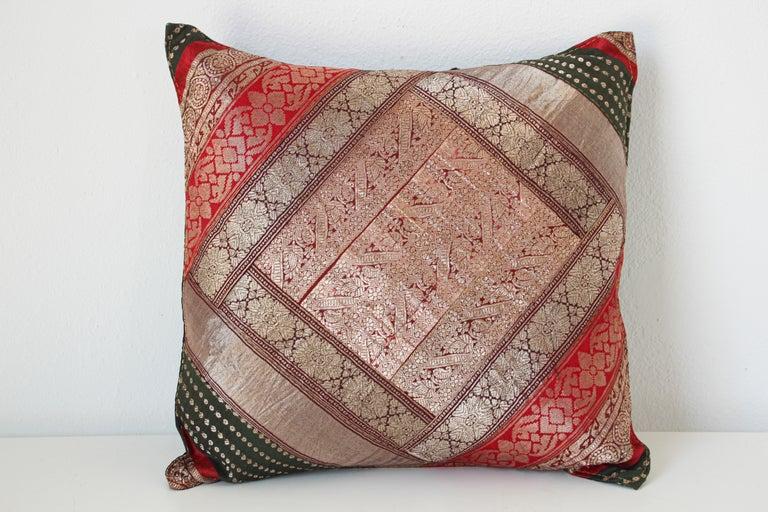 Moorish Decorative Vintage Throw Pillow Made from Sari Borders, India For Sale