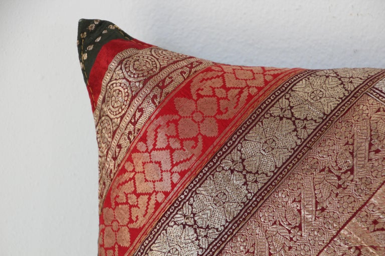 Indian Decorative Vintage Throw Pillow Made from Sari Borders, India For Sale