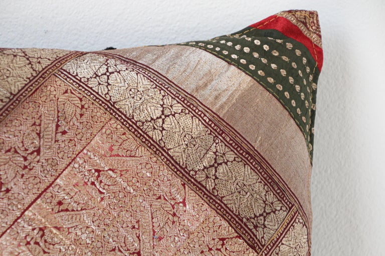 Beaded Decorative Vintage Throw Pillow Made from Sari Borders, India For Sale
